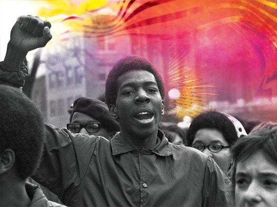 Black and white photo of male student in the middle of a crowd of protesters mid-chant, holding his fist in the air. An illustration of red, pink, yellow and orange colors swirl to his right.