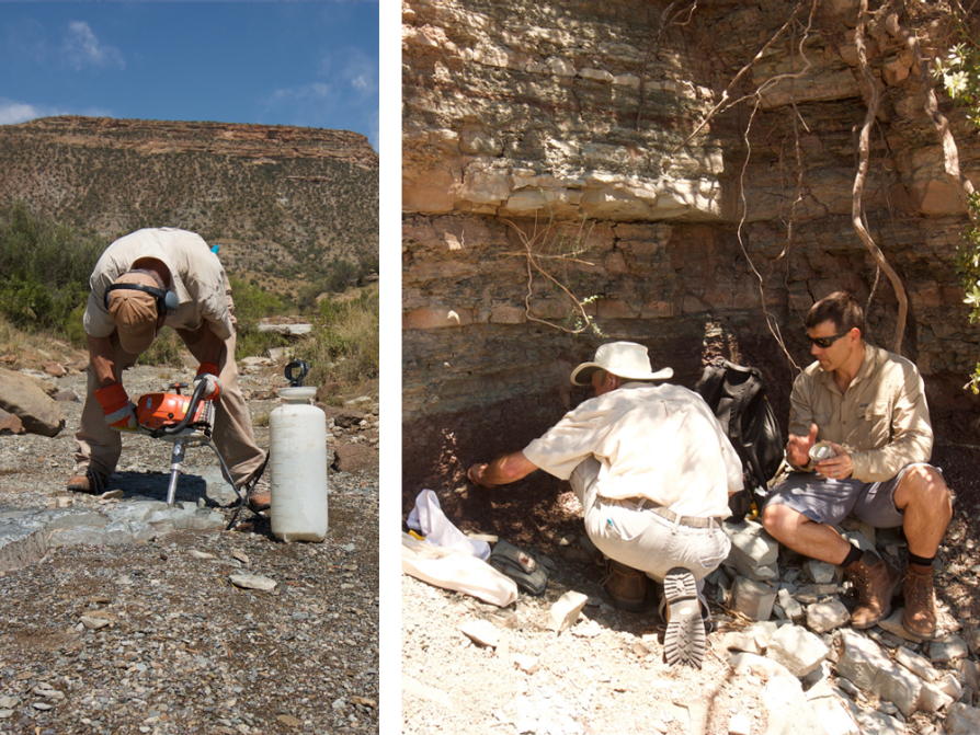 This is a composite of two photographs. In the left image, Geissman is folded over using a drill. In the right photo Geissman is gesturing to a wall of striated walk and talking to another man.