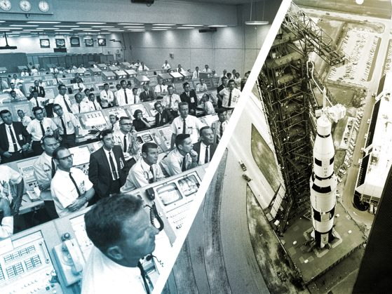 A composite image of NASA mission control center on the left and the Apollo 11 launch pad on the right.