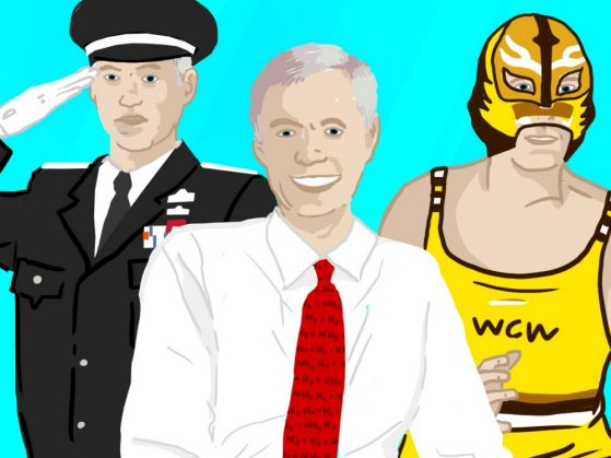 An illustration of three men. The figure on the right is dressed in a military uniform, wearing pins and a hat and saluting. The middle is a man wearing a white shirt and a red tie and smiling. The third is a wrestler dressed in a yellow and brown tank that says WCW. He's also wearing a mask.