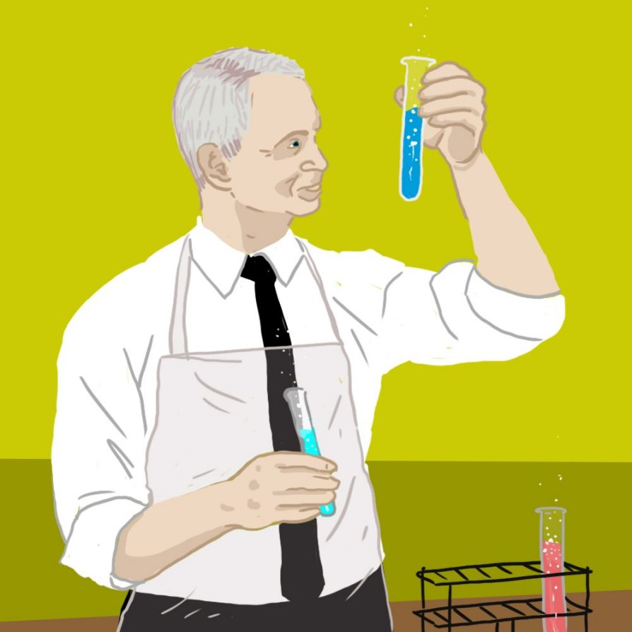 Illustration of a man wearing a tie and an apron and examining a blue test tube in his hand.
