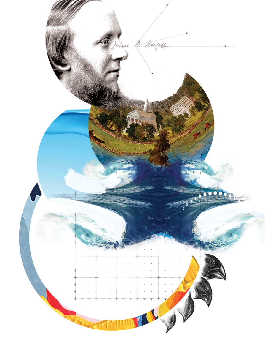 composite of photographs and illustrations. Each has a round edge. The top is a photograph of Angell with a line emerging from his eyes that then fractures into different directions. The second semi circle is a bucolic scene of field, horses and buildings that has been flattened and distorted surrounded by illustrations of water and sky that also have the same distorted qualities. The bottom semi circle is a ring of blue, orange, yellow, and red. Four bird beaks emerge from the right side. There is a rectangular geometric drawing in the middle.