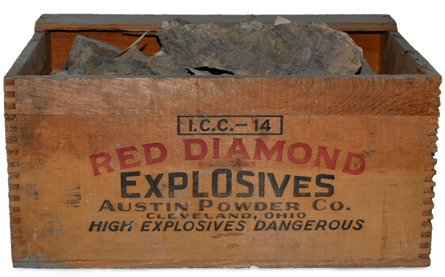 Originally containing dynamite or other explosives, this box from the Cleveland-based Austin Powder Co. held fossils from a dig that occurred sometime in the 1930s or 1940s.