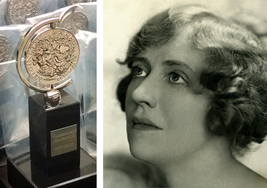 the image is divided into two images. On the left, a picture of the Tony Award, which is a bronze color medallion mounted on a black acrylic glass base. The left is a black-and-white photograph of Antoinette Perry. The photograph is almost in profile, and she is looking up to the left.