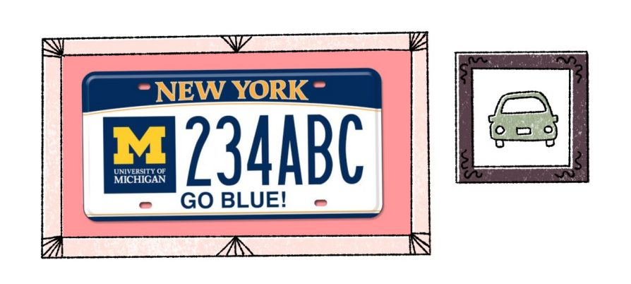 Two illustrations: on the left, a New York state license plate with the block M, and the license plate number 234ABC above text that says Go Blue. It is all surrounded by a picture frame. To the right, a drawing of a car from the rear that is also enclosed by a frame.