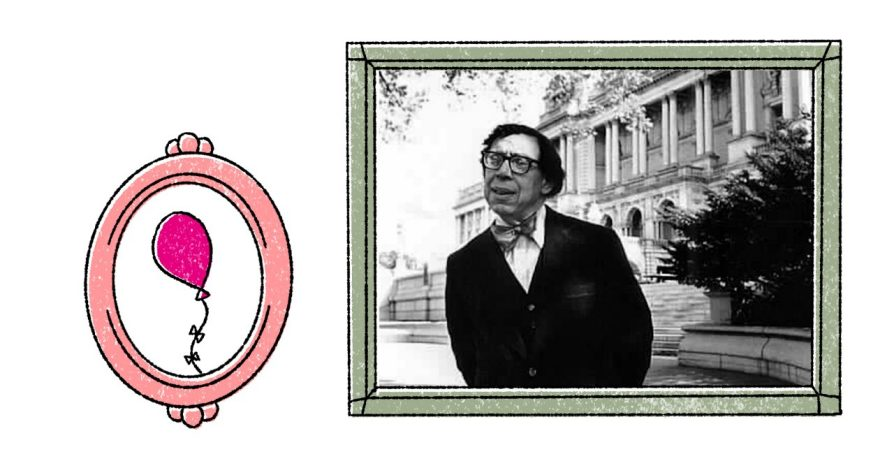 Two images: the left is an illustration of a balloon surrounded by an oval frame; the right is a photograph of Robert Hayden with his hands clasped behind his back and Angell Hall behind him.