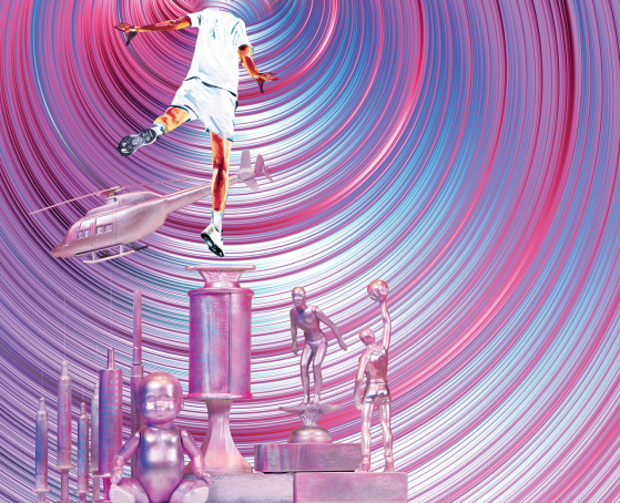 Caption: A pink, blue, and magenta series of spiral funnel drawing a man toward the top. His head has disappeared into it. There is also a pink helicopter below his feet and various trophies.