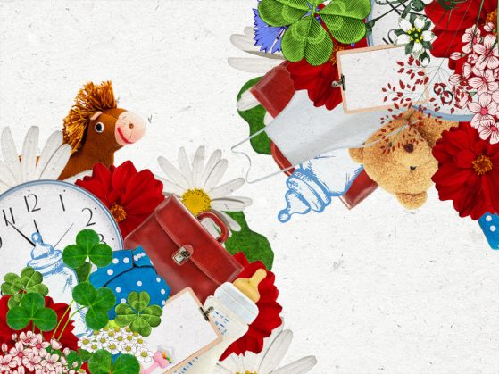 a collage illustration with a stuffed horse, red and white flowers, a bottle, a clip board, a clock, and a purse
