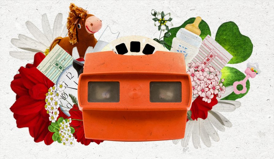 a collage illustration with red flowers, white flowers, lucky shamrocks, a view master, a pink rattle, a toy horse, and bottle