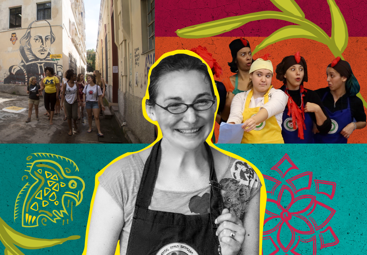In front of a collaged, colorful background, are three photographs. On the left, a group of Professor Ashley Lucas's students walk the streets of Brazil. In the center, Lucas smiles in black and white. On the right, Lucas's students engage in a theatrical performance.