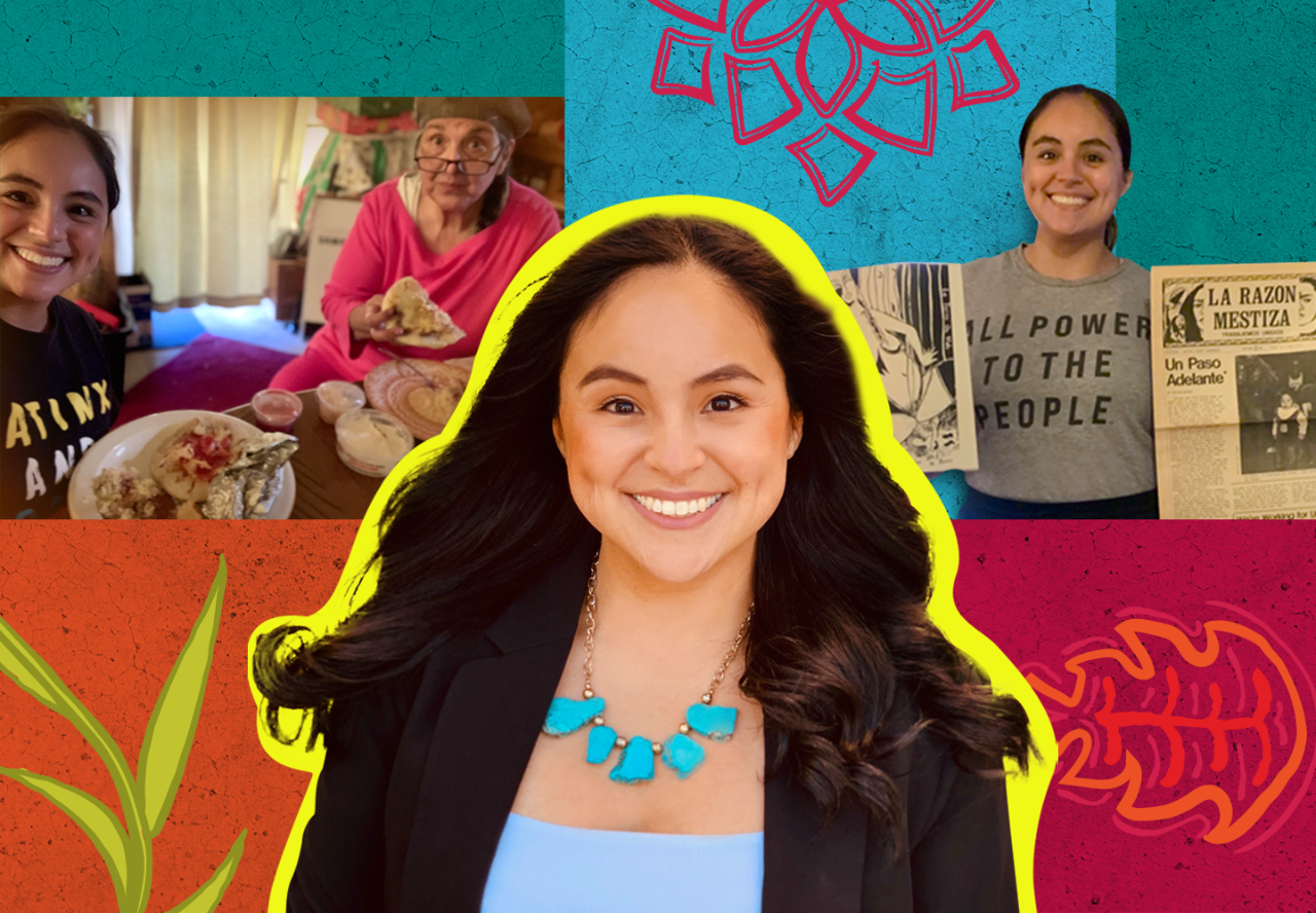 "In front of a collaged, colorful background, are three photographs of Juri Sanchez. On the left, Sanchez and Salvadoran-American elder Dorinda Moreno eat pupusas. In the center photograph, Juri Sanchez smiles directly at the camera, wearing a blazer and a bright turquoise necklace. In the photograph on the right, Juri Sanchez holds up two somewhat-yellowed archival records, an illustration of a woman in one hand, and a newspaper titled ""La Razon Mestiza"" in the other."