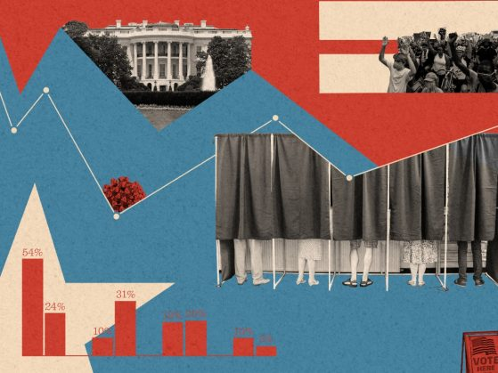 A decorative collage with elements featuring American politics.