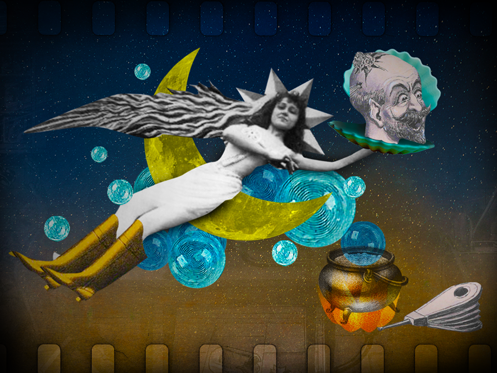 Collage featuring images from the films of Georges Méliès.