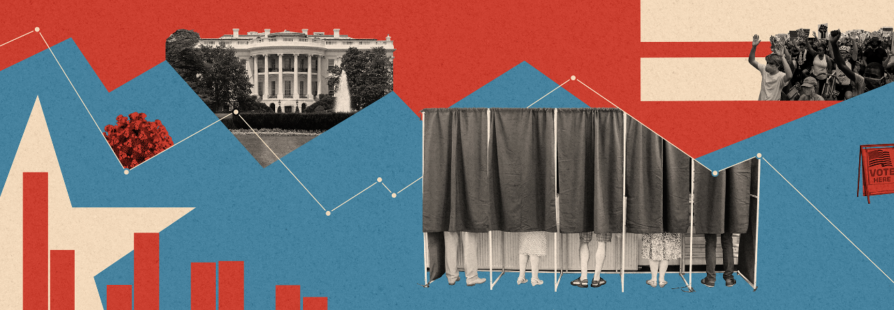 A composite of decoration and images including the White House, a BLM protest, people voting in a booth behind a curtain, a bar graph.