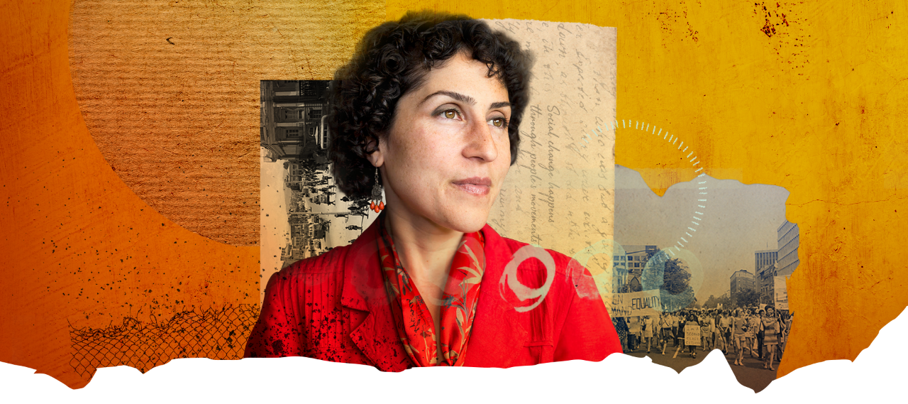 1.)	A photograph of human rights lawyer Azadeh Shahshahani against an abstract background of yellows, oranges, and reds.