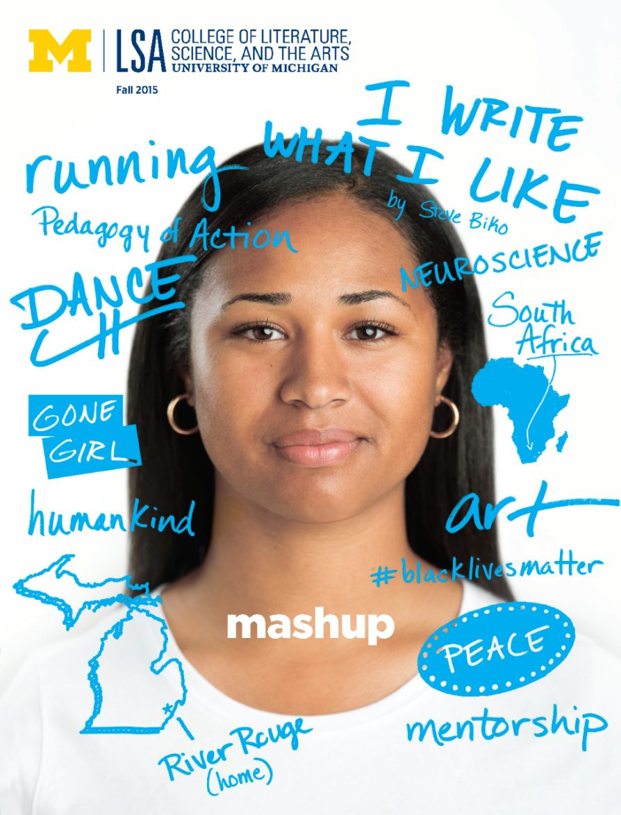 A woman's headshot with written phrases around her that say I write what I like, neuroscience, South Africa, art, #blacklivesmatter, peace, mentorship, River Rouge (home) humankind, Gone Girl, dance, pedagogy of action, running