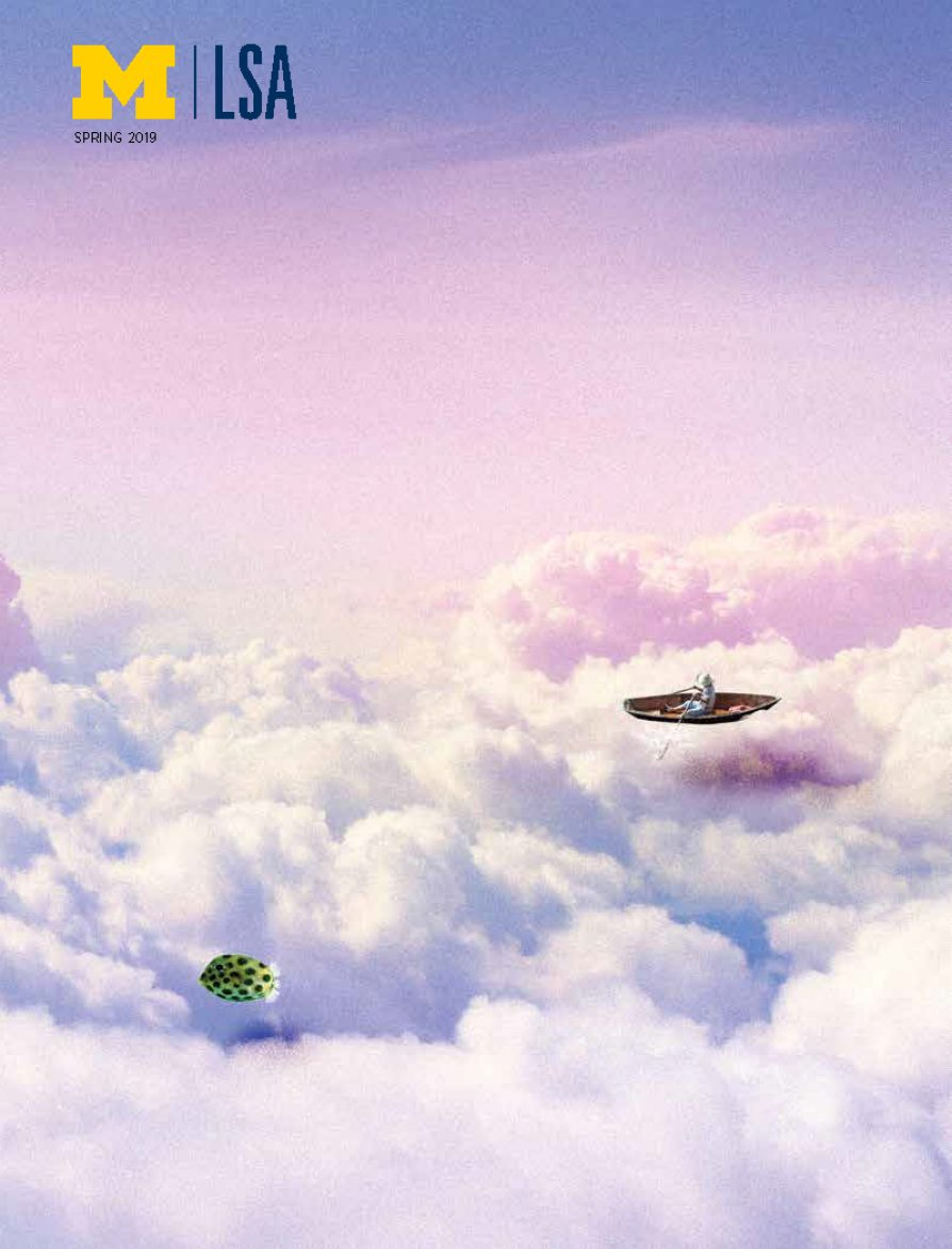 A boat and fish in the sky above the clouds.