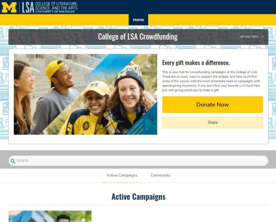 LSA's Community Funded webpage shows active campaigns and enables visitors to donate online via a Donate Now button. A photo montage of students adorned in maize and blue decorates the page, which states Every gift makes a difference.