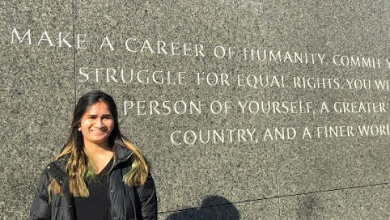 MIW student Lorraine Furtado at the Martin Luther King Jr. Memorial in Washington, D.C.