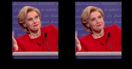 An image of SNL's Kate McKinnon (L) forged using deepfake software (R) intended to circulate online as an authentic image of Hillary Clinton