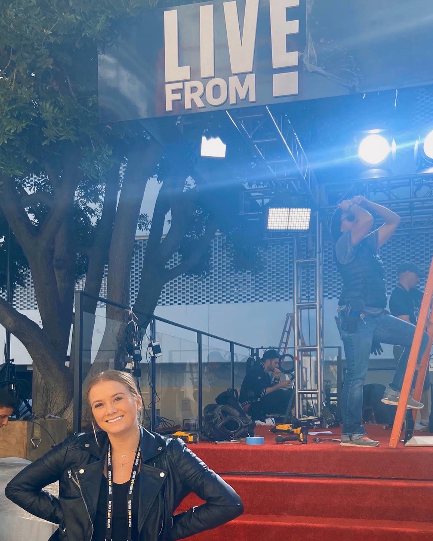 Lauren Day in front of E! Live set at Golden Globes
