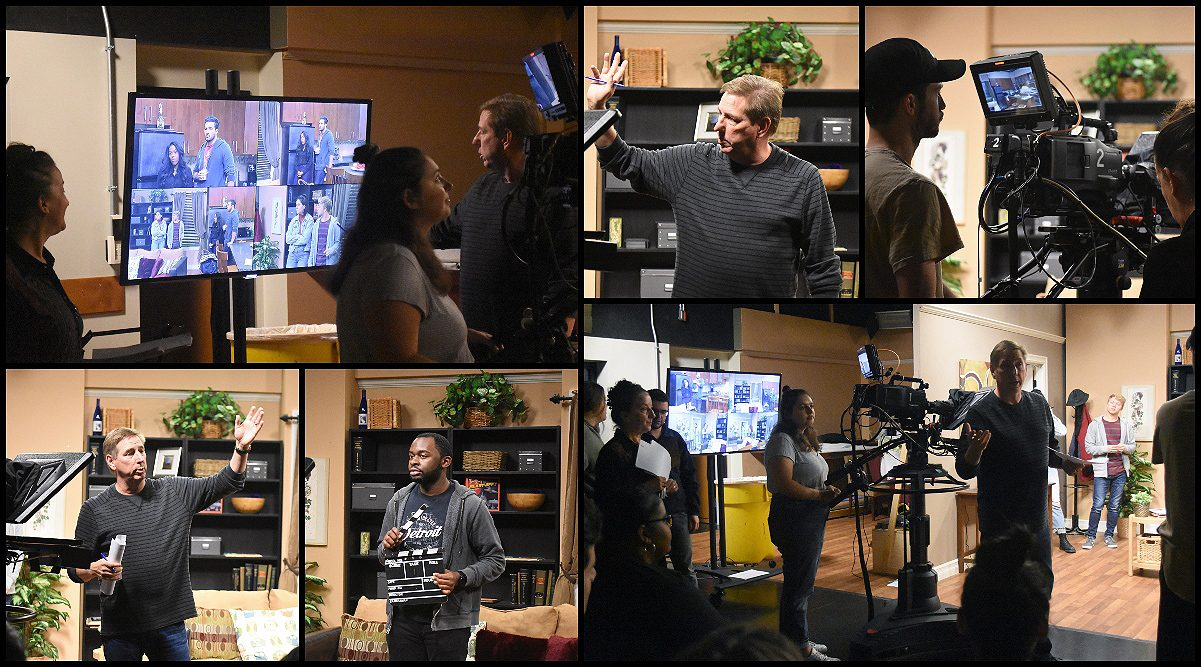 Collage of Mark Cendrowski working with students in the FTVM studios