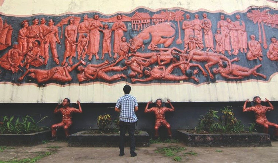 Indonesian independence war, relief sculpture photo  courtesy of AP Photo/Masyudi S. Firmansyah