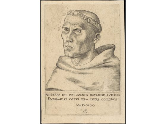 "Lucas Cranach the Elder. ""Martin Luther as an Augustinian Monk."" 1520. Engraving, 15.8 × 10.7 cm. The Metropolitan Museum of Art. The Metropolitan Museum of Art. Web. 27 Apr. 2017. Digital Image."