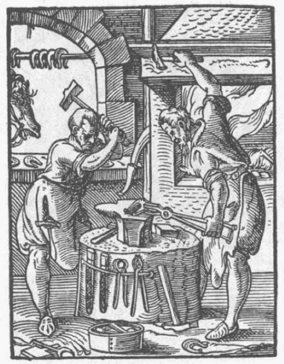 Medieval blacksmiths illustration by  Jost Amman, 1568.