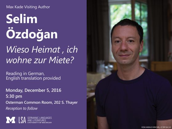 photo of Selim Ozdogan with the date and time of his public reading on 12/5 at 5:30pm in the Osterman Room