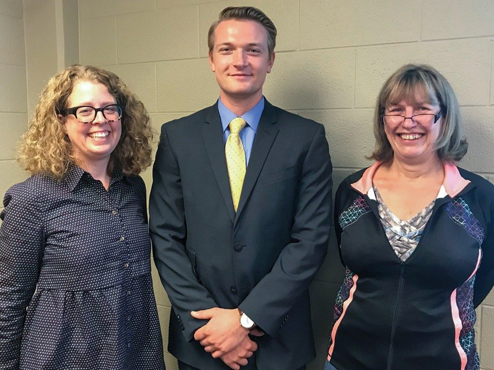 Proud Swedish teachers Johanna Eriksson (left) and Maria Gull (right) with Sean Cantrell (center)