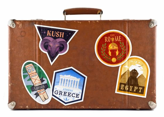 graphic of a suitcase with travel stickers