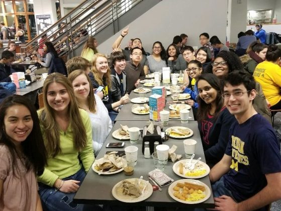Students eating together in the dining hall