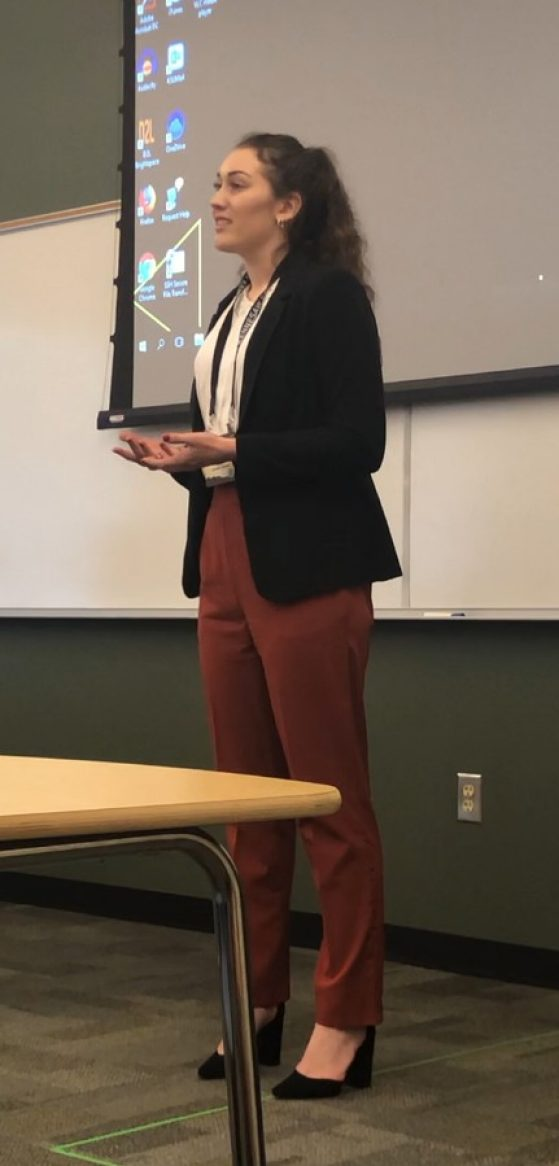 Kristen Bolster giving an oral presentation
