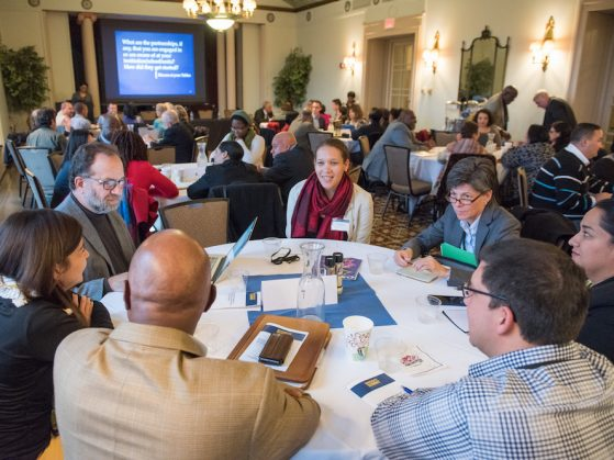 Participants engage with each other at the University of Michigan Diversity, Equity, and Inclusion Summit (November 2015)