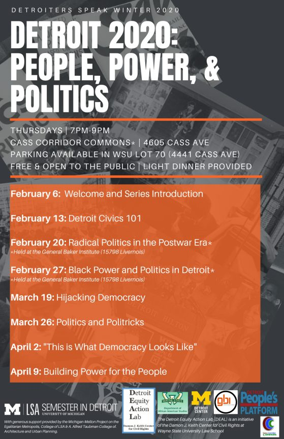 Poster for Detroiters Speak Winter 2020, all information included in text on this page