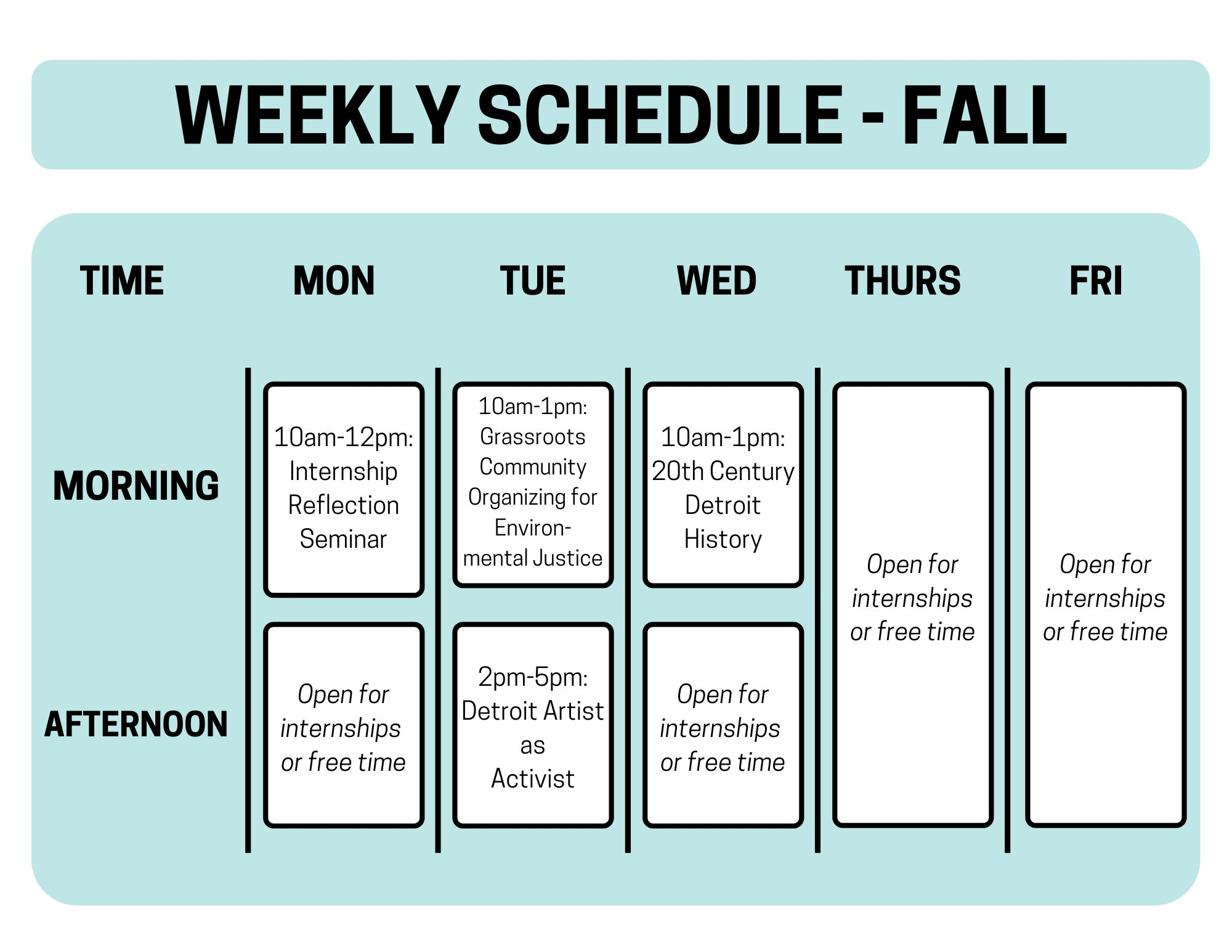 Weekly schedule for fall shows classes on Mondays, Tuesdays, and Wednesdays with time for internships on Monday and Wednesday afternoons, as well as all day Thursday and Friday