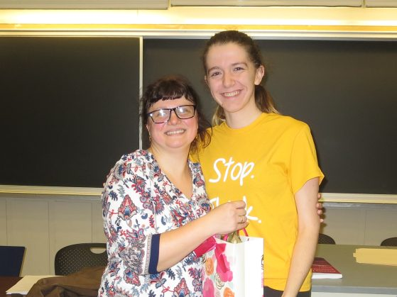 Russian 202 instructor Elena Fort with student Courtney Beauchamp
