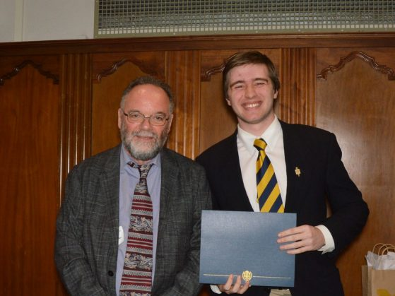 "Professor Michael Makin with Arthur Mengozzi, winner of the award for ""best paper written in a student's native language"""