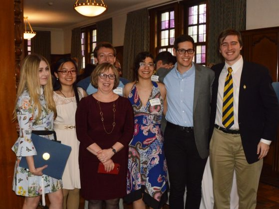 Russian Lecturer Nina Shkolnik with some of her Russian students at the reception.