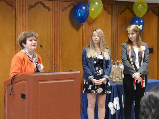 BCS Lecturer Marija Rosic awards the BCS minors Nejra Malanovic and Allison Radman.
