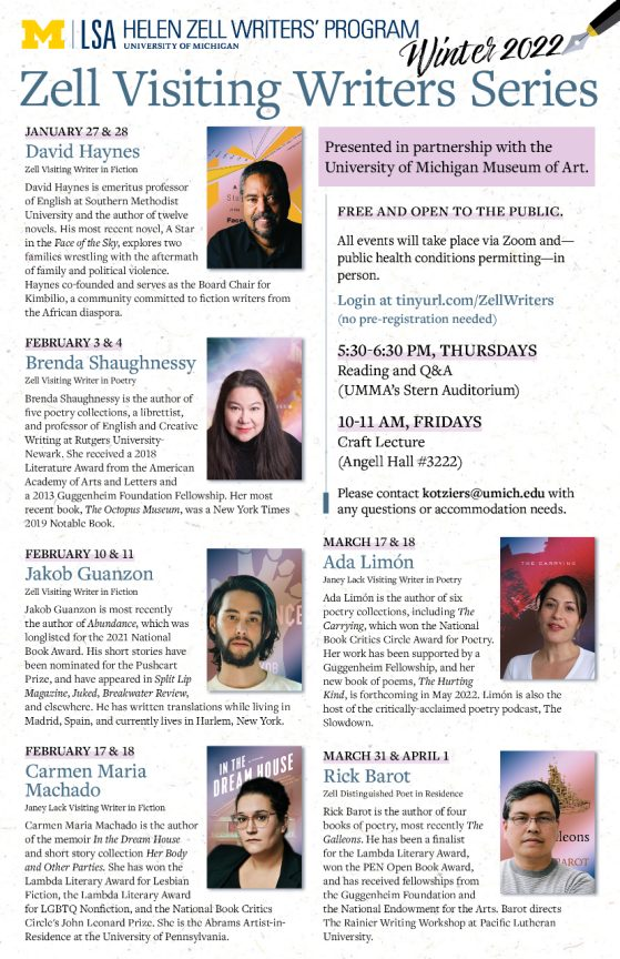 Poster of Fall 2020 Zell Writers Series