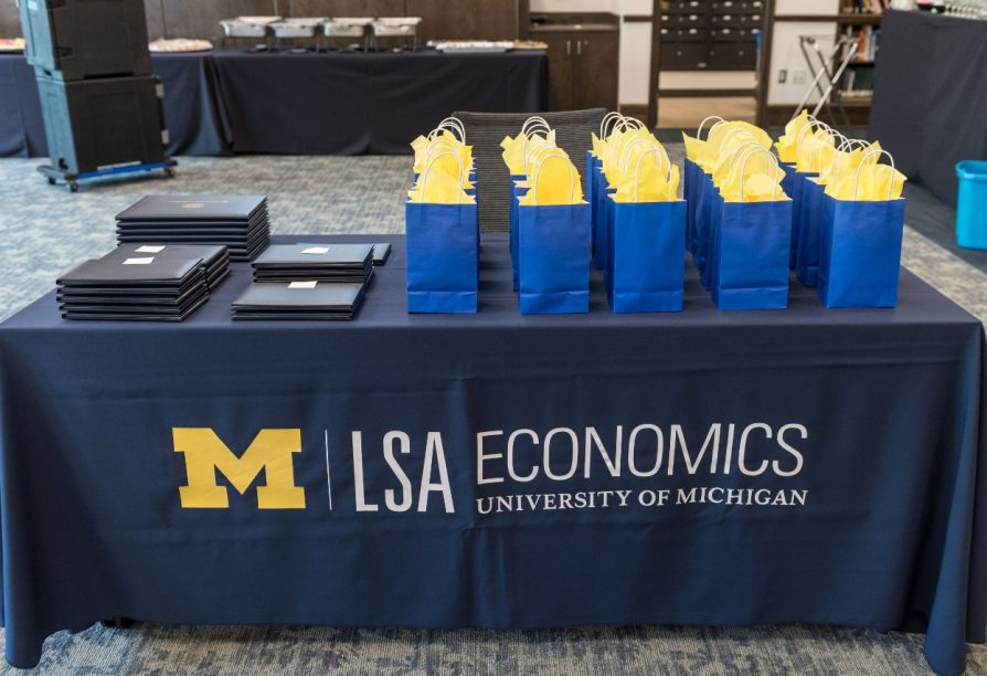 table with award bags