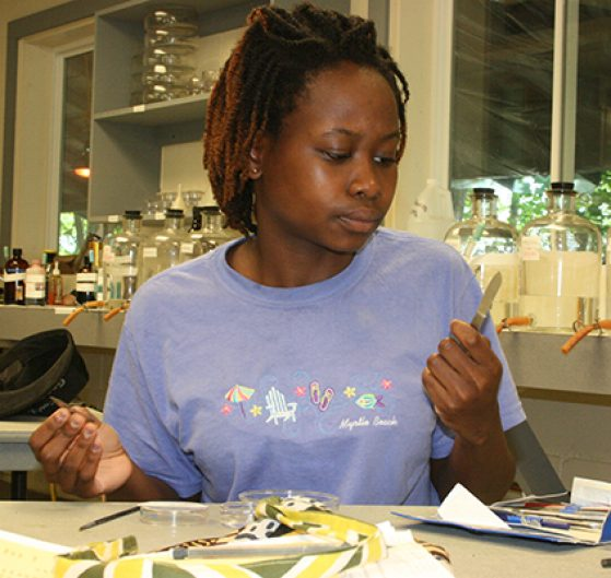 Xorla Ocloo working in the lab