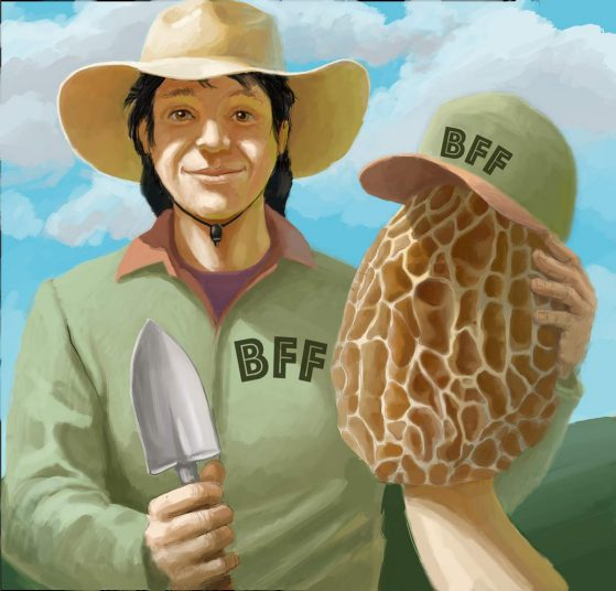 Farmer with mushroom, wearing BFF shirt and cap