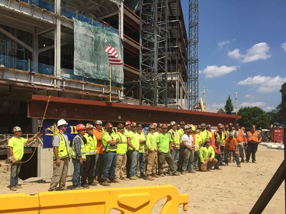 The construction crew of the Biological Sciences Building. Image credit: Robert Denver.