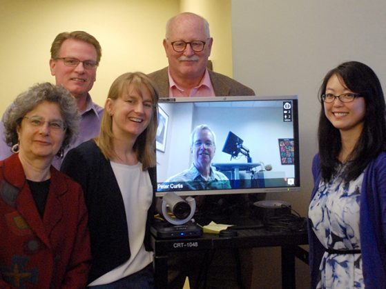 Susan Cheng's committee (left to right): Deborah Goldberg, Bill Currie (School of Natural Resources and Environment), Allison Steiner (College of Engineering), Knute Nadelhoffer, Peter Curtis (The Ohio State University, on screen), Susan Cheng.