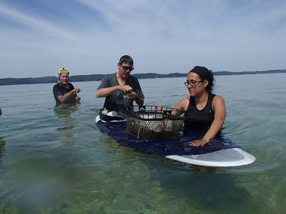 Kristel Sanchez researching an algal bloom in northern Michigan's Torch Lake