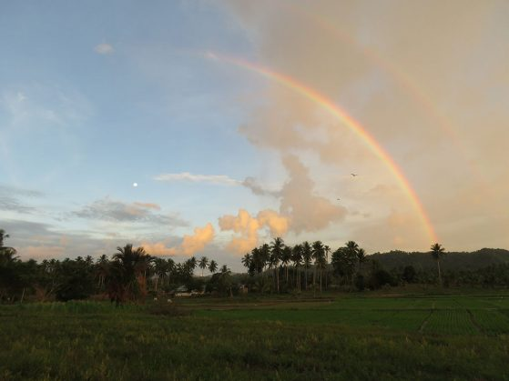 Double rainbow with moon, Cattle Egrets, and rice paddy fields, Padengo, Gorontalo, Indonesia on Sulawesi. Image: Eric Gulson