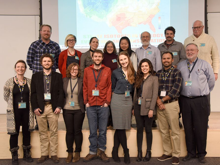 The ECSS 2019 speakers, front left to right: Tamsin O'Connell, Sean Brennan, Allison Karp, Erik Van Bergen, Fiona Soper, Julia Tejada-Lara, Pete Homyak, Jim Ehleringer. ECSS planning committee, back left to right: Ben Passey, Katie Loughney, Giorgia Auteri, Catherine Badgley, Bian Wang, Dan Fisher, Jake Allgeier, Knute Nadelhoffer.